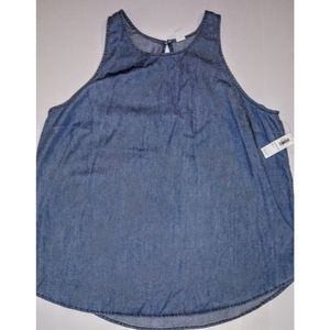 Old Navy Simple Light Denim Keyhole Neck Tank, NWT